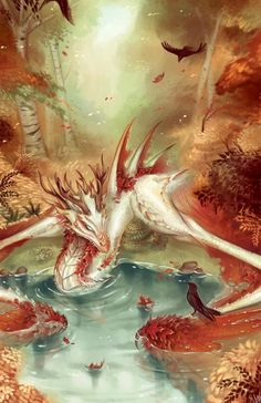 Autumn Wyvern digital painting by Walking Melons - you can find this speedpaint . Mythical Creatures Art, Mythological Creatures, Magical Creatures, Cute Fantasy Creatures, Dragon Artwork, Creature Drawings, Wolf Drawings, Pencil Drawings, Art Drawings