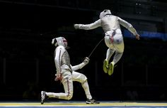 Rio 2016: Fencing - James-Andrew Davis with Alaaeldin Abouelkassem