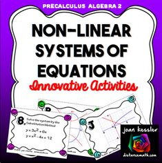 This product is designed for Algebra 2 and PreCalculus. It includes Task Cards, a Matching Activity, Graphing, plus a handout which can be used for HW, assessment, or enrichment. There are many ways to use this product and challenge your students . The first 16 task cards have pairs of non linear systems equations, the second 16 have their matching graphs.