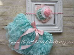 Hey, I found this really awesome Etsy listing at https://www.etsy.com/listing/179548527/aqua-and-pinklace-bloomer-setnewborn