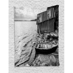 Black and White Decor Tapestry, Old Wooden Fishing Boat and Abandoned Barn on Lake Coastal Charm Picture, Wall Hanging for Bedroom Living Room Dorm Decor, 40W X 60L Inches, Grey, by Ambesonne #coastaldecor