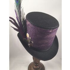 Victorian Top Hats, Riding Top Hats, Steampunk Top Hats, Black with... ❤ liked on Polyvore featuring accessories, hats, victorian top hat, gold hat, steam punk top hat, flower crowns and crochet crown