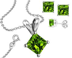 925 Sterling Silver Princess Cut Synthetic Peridot Pendant and Earring Combo Gift Set 1 Ct Each Stone 2 Ctw Earring * Click image for more details.