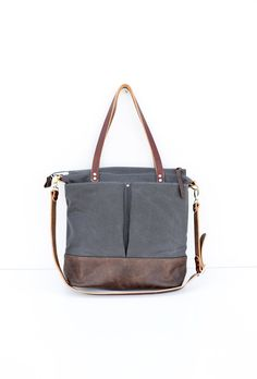 Grey waxed canvas and Dark Brown leather diaper bag nappy bag tote bag *** This bag is handmade to order - please see my shop