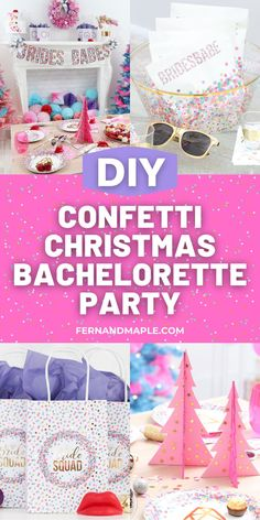 Create a colorful Confetti Christmas Bachelorette Party for a Bride and her Babes with a DIY Confetti Ornament wreath, DIY confetti favors, and more! Get all of the details now at fernandmaple.com!