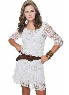 Белое платье интересными узорами+СХЕМЫ. Ажурное платье квадратными мотивами  