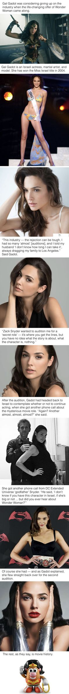 Gadot was considering giving up on acting when the life-changing offer came along. Gal Gadot was considering giving up on acting when the life-changing offer came along.Gal Gadot was considering giving up on acting when the life-changing offer came along. Beautiful Celebrities, Beautiful Women, Gal Gardot, Super Heroine, Gal Gadot Wonder Woman, Woman Crush, Role Models, Movie Stars, Actors & Actresses