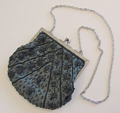 Small Gray and Black Beaded Evening Bag Vintage by RetrofitStyle, $27.00