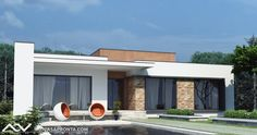 Small Modern House Plans, Modern Small House Design, Modern Villa Design, Minimalist House Design, Modern House Facades, Modern Bungalow House, Bungalow House Plans, Bedroom House Plans, Flat Roof House Designs