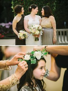Traditional & Elegant Vintage Wedding. I love the beautiful simplicity of the little girl's hair with the vine and flowers.