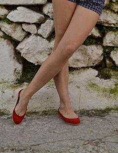 Red Suede Leather Ballet Flats ballerinas ballerina's