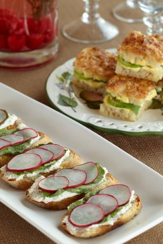 Mini Vegetable Sandwiches and Radish Bruschetta. Pick fresh from an enchanted garden near you.