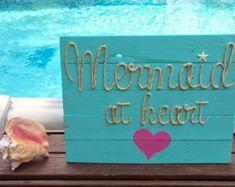 Handmade Mermaid Tail Beach Pallet Art by BeachByDesignCo on Etsy