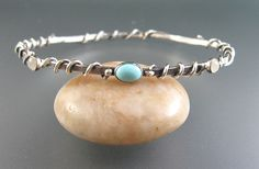 """Turquoise bangle bracelet with moonstone handcrafted from sterling silver and wrapped with vines -  """"Sleeping Beauty Bangle Bracelet"""" handmade by Kryzia Kreations  www.kryziakreationsstudio.com"""