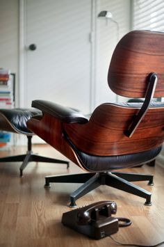 "Eames... I really love these iconic chairs!!! Bent plywood furniture is some of the most comfortable you can find. The plywood is very strong, but also is flexible, so it ""gives"" just a bit under pressure and responds to your body and weight. Genius."