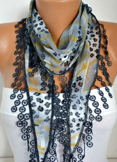 ON SALE - 50% OFF - Gray Leopard  Scarf -  Cotton  Scarf - Shawl -  Cowl Women's Fashion Accessories - best selling item scarf