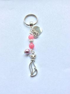 Gemstone Bag Charm with pink Jade & glass pearl.