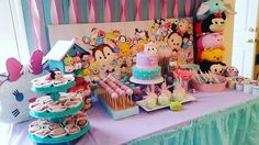 Tsum tsum party dessert table by SiyCupcakes