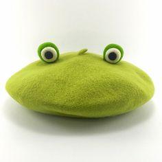 [Wool felt hand-made three-dimensional models frog painter cap beret]    ❤ Color: Light green   ❤ Material: 100% wool   ❤ Production: handmade   ❤ Siz...