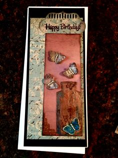 Birthday card made with Tim Holtz apocathary bottle die. And butterflies made from dryer sheets