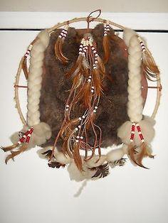 Dream-Catcher-Leather-Rabbit-Wool-Feathers-Handmade-Native-American