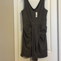 Grey Dress Grey Sleeveless Dress. Lined.  Zip up 3/4 back. v-neck front and back. New York & Company Dresses