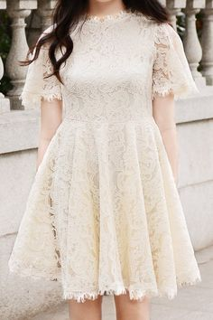 Eyelash Lace Trims Large Hem Dress