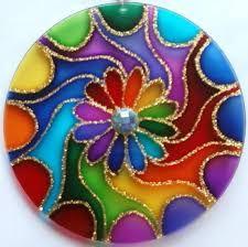 Resultado de imagen para mandalas vitrales en cd Mandala Art, Mandala Painting, Glass Painting Designs, Dot Art Painting, Stone Painting, Old Cd Crafts, Kids Crafts, Rock Crafts, Arts And Crafts