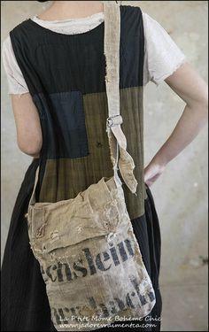 Bag-Shoulder Bag 001 #2-antique grain sack
