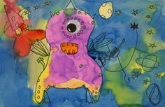 Great art lesson, includes music and dance as well! Flying purple people eater.
