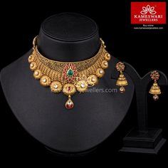 Kundan Tantra Choker Set We ship across and Call/Whatsapp us on Antique Jewellery Designs, Gold Earrings Designs, Gold Jewellery Design, Necklace Designs, Designer Jewellery, Golden Jewelry, Silver Jewelry, Antique Necklace, Necklace Online