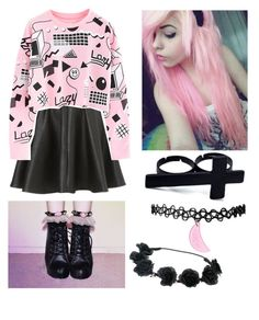"""""""Pastel Goth"""" by ilovemybatman2000 ❤ liked on Polyvore featuring Topshop"""