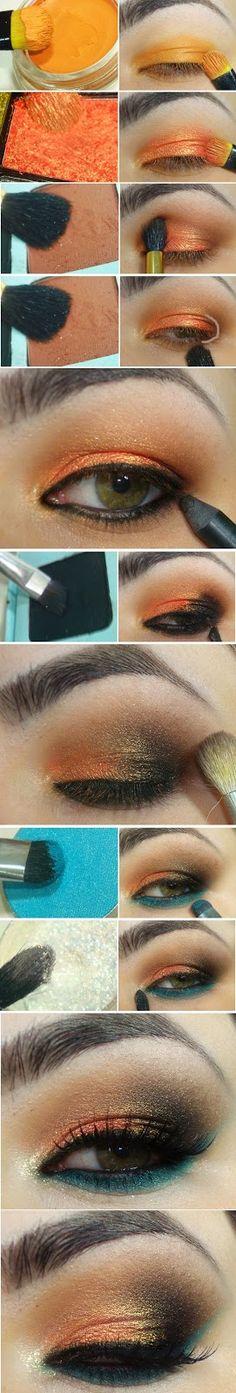 Orange and Torquoise Makeup Tutorials / Best LoLus Makeup Fashion