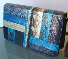 Vintage Leather  & Snakeskin Shoulder Bag by TheOldBagOnline, $54.99