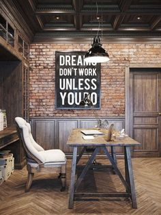 Home Decor Ideas With Typography - inspirational wall art complete the look in this industrial study space.