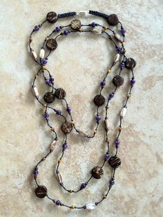 Long Necklace Stone Necklace Beaded Necklace Wood by FrancaandNen