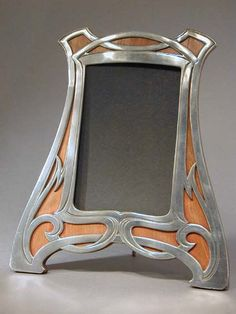 Polished pewter and wood Art Nouveau picture frame with original wood back  ~ Germany ~ 1906
