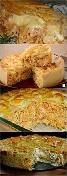 EMPADÃO DE FRANGO, RECEITA DA VOVÓ UMA DELÍCIA!!! VEJA AQUI>>>Coloque numa vasilha funda a farinha, margarina, o creme ou sopa de cebola e o sal. #receitas#salgadas#tortas#empadão#massas#lanches