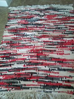Red,White,Black handwoven Rustic Soft Rug, Tube Sock Rug Check out this item in my Etsy shop https://www.etsy.com/listing/183592885/redwhiteblack-handwoven-rustic-soft-rug