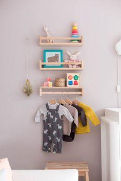Nursery Makeover - Before & After Nursery Room Makeover Kids Wall Shelves, Kids Room Bookshelves, Nursery Bookshelf, Kids Shelf, Ikea Bookshelf Hack, Ikea Kallax Shelving, Ikea Nursery, Nursery Room, Nursery Ideas