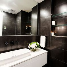 As seen on The Block - Create this look with Six Sense Black 300x600mm Lappato, available in a range of colours at Alstonville Tiles & Floorcoverings