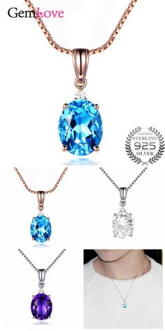 [Visit to Buy] Gemlove Blue 925 Sterling Silver Necklace Collar Rose Gold Plated Created Sapphire Pendants for Women with Chain Box 40% LN037 #Advertisement
