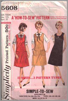 Simplicity 4814 Junior Misses /& Misses Dress and Jumper Vintage Size 12 Bust 30 Waist 24 Hip 33 Jumper Cut Rest Uncut Simple To Make 1954