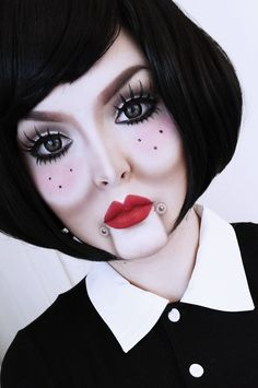 2014 bloody broken doll makeup for halloween you can learn red eyes 2014 halloween. Black Bedroom Furniture Sets. Home Design Ideas