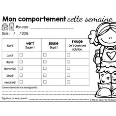 Comportement : fiche de consignationYou can find Teacher resources and more on our website. Behaviour Management, Behaviour Chart, Classroom Management, French Teacher, Teaching French, Behavior Incentives, Education Positive, Teachers Corner, French Classroom