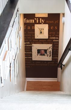 Clever and Cool Basement Wall Ideas Photo Wall. Put photos on the wall down and at the end of the steps or at the top of stairs. Put photos on the wall down and at the end of the steps or at the top of stairs. Basement House, Basement Stairs, Basement Bathroom, Basement Ideas, Basement Shelving, Open Basement, Basement Entrance, Basement Fireplace, Basement Decorating