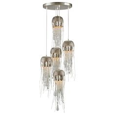 """The Currey & Company Medusa multi-pendant fixture displays unique, contemporary style over dining tables and in hallways. This jelly fish-inspired design features five lights at various heights, with hammered, nickel-finished domes and dangling clusters of beaded glass. 19"""" Diameter x 32""""H. Adjustable from 60""""-132""""H with hanging kit. Brass, glass. Nickel, clear finish. Hardwired. Accepts five 125W candelabra bulbs (not included). Wipe with soft, dry cloth to clean."""