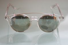 The Old Glasses Shop - Clear Round Vintage Prescription Glasses by Polaroid with Clip On Sunglasses, €120.68 (www.theoldglasses...)