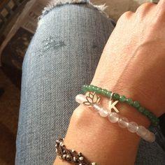 Bracelets, semi- precious stones.