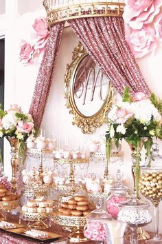 #Dessert #table #ideas #flowers #desserts Pink and gold Quinceañera dessert table styled by bizziebeecreations Shiny gold plated cake stands available at Styling pink paper flowers sequin crown draping gold custom M mirror Desserts cake pops candy apples donuts and candy Follow Amalfi Decor for more Quinceañera dessert table ideasbrp classfirstletterwelcome to our siteScroll down for spare styling adequate TopicpPink and gold dessert table Pink and gold Quinceañera dessert table styled b... Candy Table Decorations, Sweet 16 Decorations, Quince Decorations, Birthday Party Decorations, Birthday Parties, Quinceanera Planning, Quinceanera Decorations, Quinceanera Party, Gold Dessert Table